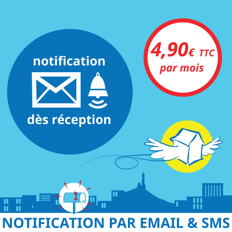 Adresse postale en France - Notification dès réception d'un courrier