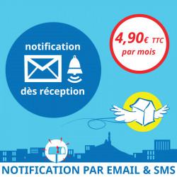 Adresse postale en France - Notification dès réception d'un courrier