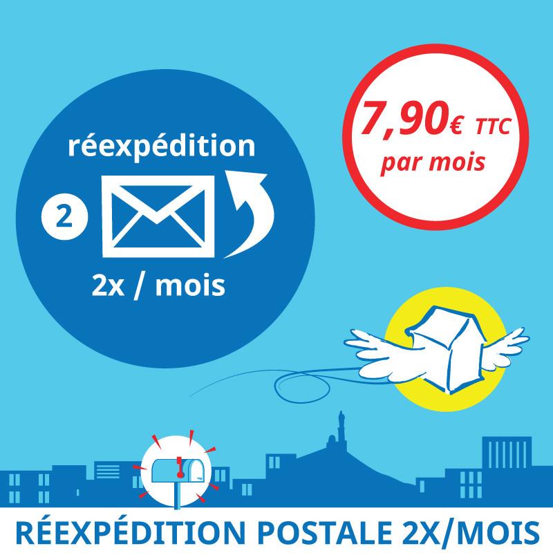 Adresse postale en France - Réexpédition postale 2x / mois
